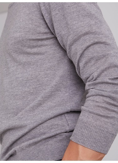 Dufy Grı Erkek Trıko - Slım Fıt Gri